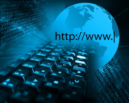 Picture, which depicts a collage of keyboards and the model of the planet Earth Stock Photo - 20381264
