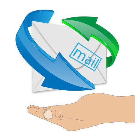 Abstract composition which shows a human hand supporting the envelope with arrows on a white background. Stock Photo - 20433679
