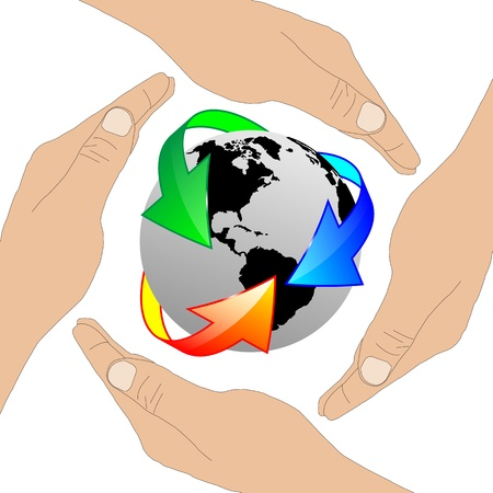Image which shows the planet Earth and the human hands.  photo
