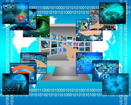 Abstract composition which shows a lot of different images, a computer monitor, binary code and a map of the world on a blue background. photo