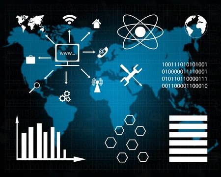 Abstract interface to the international Internet network over a map of planet The Earth and binary code. Stock Photo - 20723142