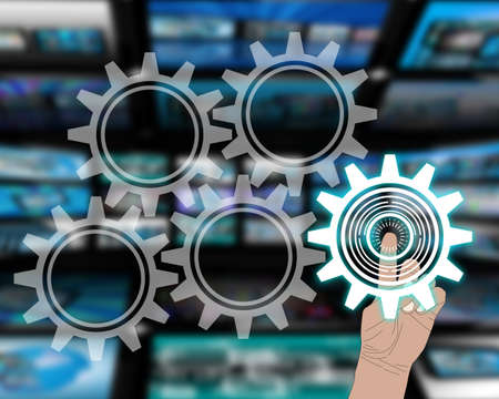 The interface consists of five buttons as gears and a human hand. Stock Photo - 20925239