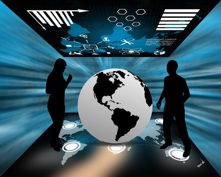 multiple images: Computer abstraction of multiple images in a virtual space with silhouettes of men and women. Stock Photo