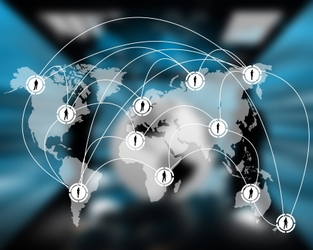 spread around: International Network of internet spread around the world on all continents.