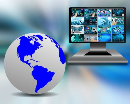 user friendly: Abstraction with the image of planet Earth and the monitor screen, which shows the many different photos. Stock Photo