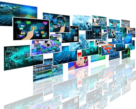 Abstract internet Aussicht auf eine Vielzahl von Bildern zum Thema Computer und High-Tech.