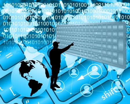 Silhouette of person who clicks on the virtual keyboard in the computer space. Stock Photo