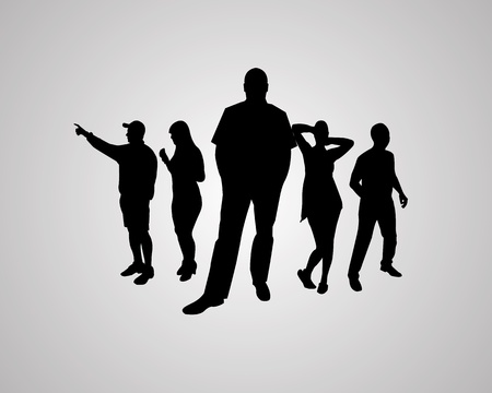 Five silhouettes against the gray background for designers for various necessities. Vector