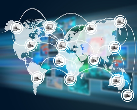 spread around: International Network of internet spread around the world on all continents..  Stock Photo