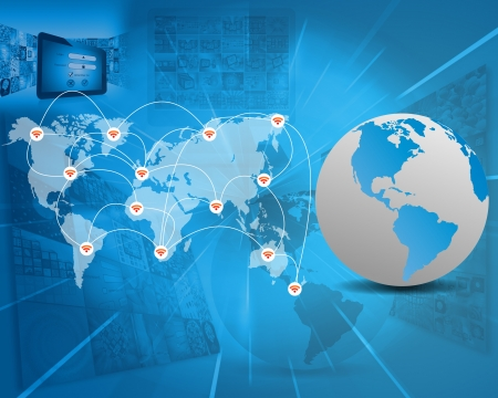 International Network of internet spread around the world on all continents..  photo