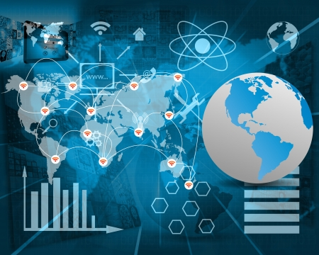 International Network of internet spread around the world on all continents..  Stock Photo
