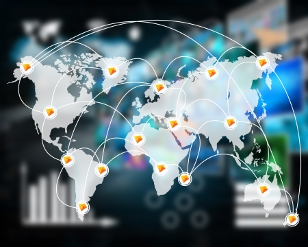 spread around: International Network of internet spread around the world on all continents...
