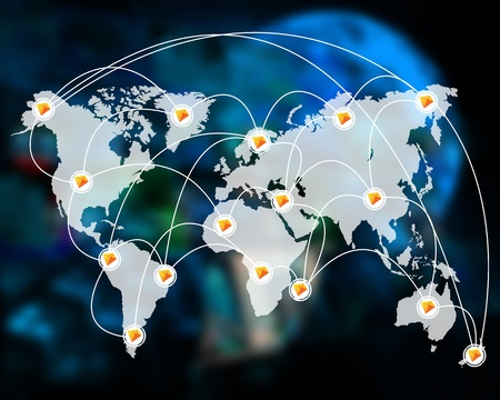 International Network of internet spread around the world on all continents...  photo