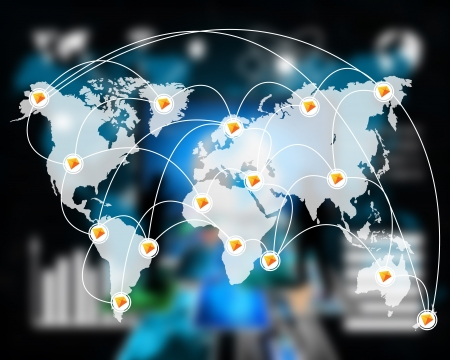 International Network von Internet verbreitet auf der ganzen Welt auf allen Kontinenten ... Standard-Bild - 21558676