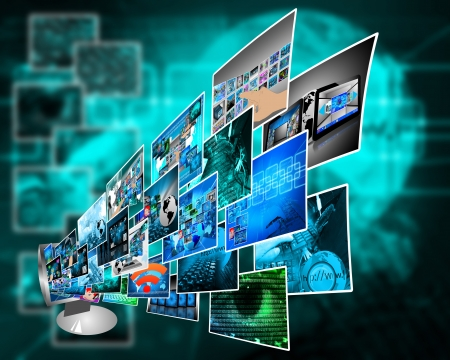 Abstract composition which shows the monitor is out of a lot of different images. Stock Photo