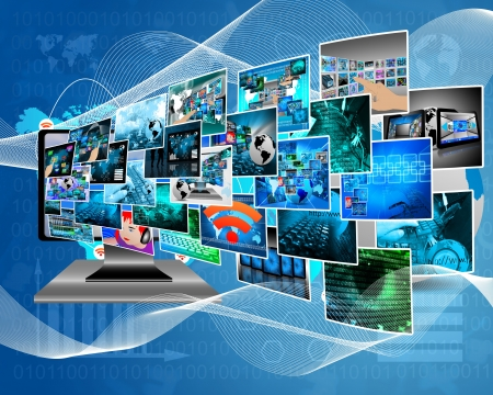 design web: Abstract composition which shows a variety of different images on the theme of computers and high technology. Stock Photo