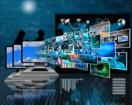 hdtv: Abstract composition which shows a variety of different images on the theme of computers and high technology. Stock Photo