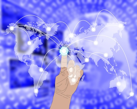 International Network of internet spread around the world on all continents Stock Photo - 21819590