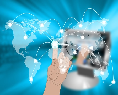 International Network of internet spread around the world on all continents Stock Photo - 21819592