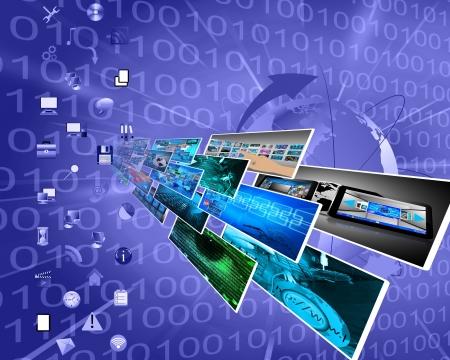 Abstrakte Komposition, die eine Vielzahl von verschiedenen Bildern auf das Thema Computer-und Hochtechnologie zeigt