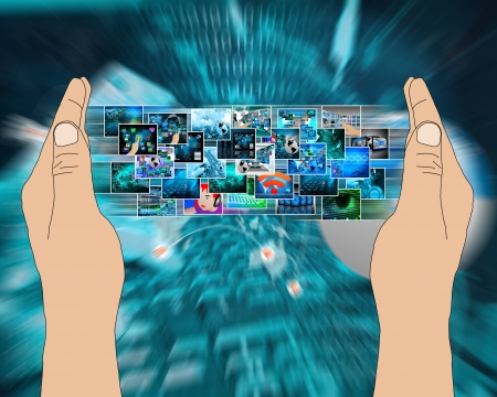 Abstract composition which shows a variety of different images on the theme of computers and high technology Stock Photo