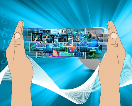 find images videos: Abstract composition which shows a variety of different images on the theme of computers and high technology Stock Photo