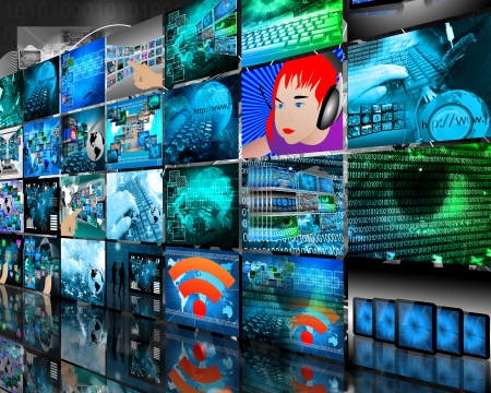 Abstract internet perspective of a plurality of images on the theme of high technology photo