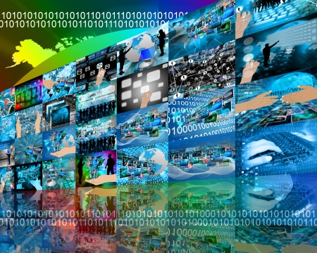 plurality: Abstract internet perspective of a plurality of images on the theme of high technology
