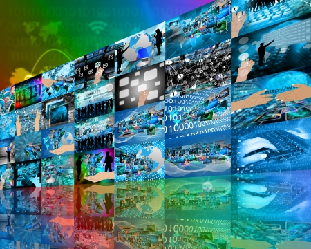 Abstract internet perspective of a plurality of images on the theme of high technology