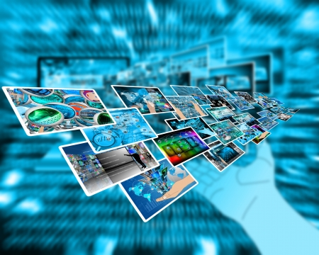 Abstract composition which shows a variety of different images on the theme of computers and high technology Stock Photo - 24702694