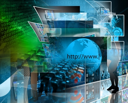 Abstract image on computers, the Internet, communications and high technology. Stock Photo