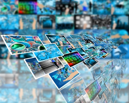 Abstract composition which shows a variety of different images on the theme of computers and high technology Stock Photo - 24703134