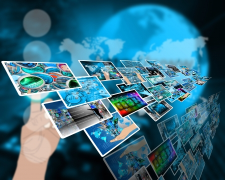 Abstract composition which shows a variety of different images on the theme of computers and high technology Stock Photo - 24703543