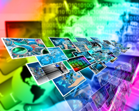 Abstract composition which shows a variety of different images on the theme of computers and high technology  photo