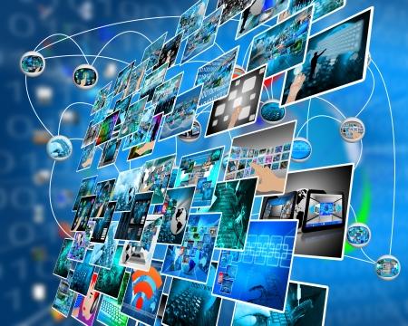 Resumen de la composición que muestra una variedad de diferentes imágenes sobre el tema de las computadoras y de alta tecnología. Foto de archivo - 25193831