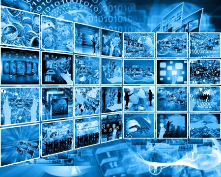Resumen de la composición que muestra una variedad de diferentes imágenes sobre el tema de las computadoras y de alta tecnología. Foto de archivo - 25193906