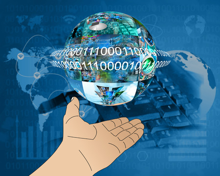 Abstraction which depicts a human hand and a sphere consisting of the images on the computer theme. Stock Photo - 25194618