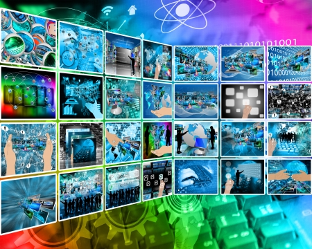 Abstract composition which shows a variety of different images on the theme of computers and high technology.  photo
