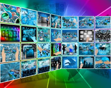 Abstract composition which shows a variety of different images on the theme of computers and high technology. Stock Photo - 25254644