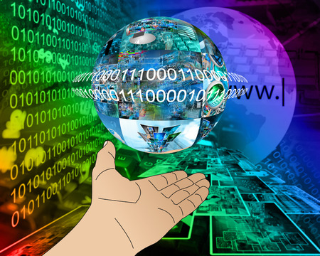 Abstraction which depicts a human hand and a sphere consisting of the images on the computer theme. photo
