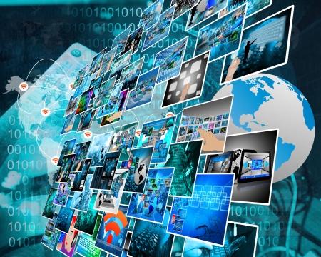 Abstrakte Komposition, die eine Vielzahl von verschiedenen Bildern auf das Thema Computer-und Hochtechnologie zeigt. Standard-Bild - 25255755
