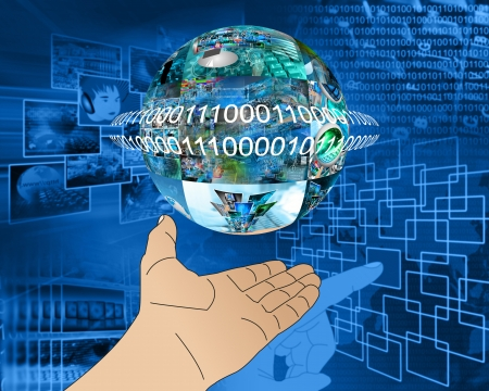 Abstraction which depicts a human hand and a sphere consisting of the images on the computer theme. Stock Photo - 25256233