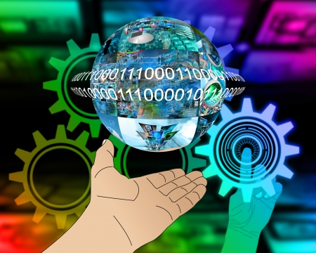 Abstraction which depicts a human hand and a sphere consisting of the images on the computer theme. Stock Photo - 25256467