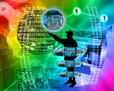 Internet and high technology surrounds mankind everywhere, and from all sides. Stock Photo - 25256533