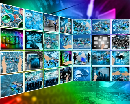 Abstract composition which shows a variety of different images on the theme of computers and high technology. Stock Photo - 25256538