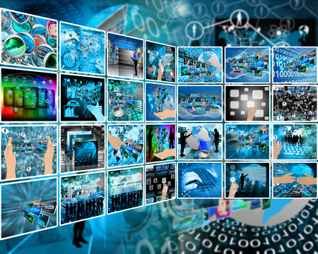 Abstract composition which shows a variety of different images on the theme of computers and high technology. Stock Photo - 25533561