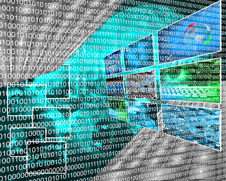 Composition, which depicts a computer abstraction in binary form in cyberspace. Stock Photo - 25533756