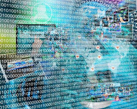 Zusammensetzung, die eine Abstraktion Computer in binärer Form im Cyberspace zeigt. Standard-Bild