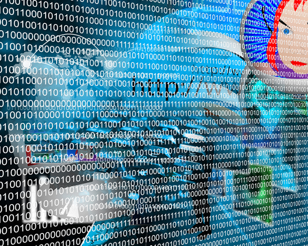 Composition, which depicts a computer abstraction in binary form in cyberspace. Stock Photo - 25533872