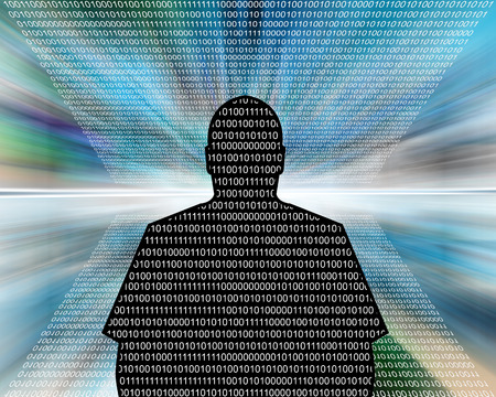 Abstract composition which depicts the silhouette of a man in the form of binary code. Stock Photo - 25670010